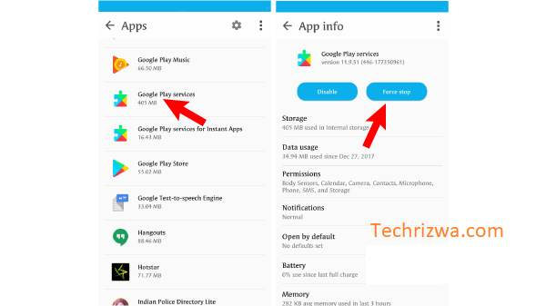 Force stop Google Play Service
